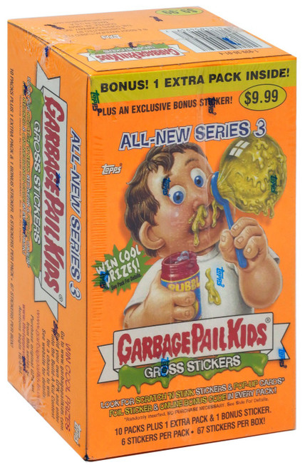 Garbage Pail Kids Gross Stickers All-New Series 3 Tradig Card Sticker Bonus Box [10 Packs + 1 Extra Pack! Version 2]