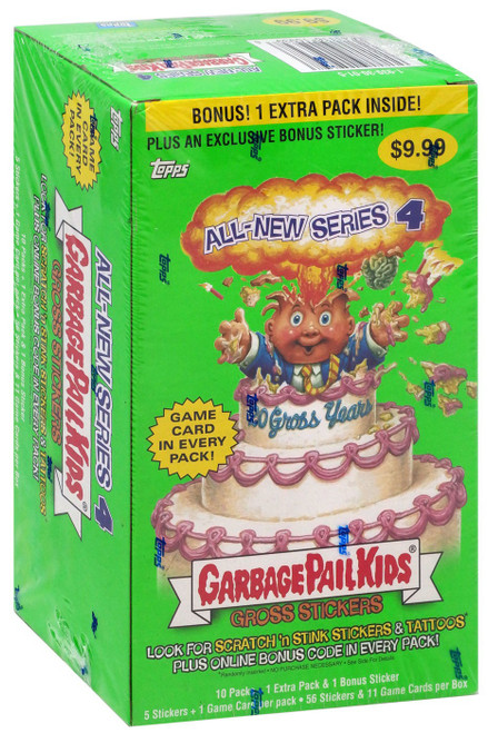 Garbage Pail Kids Topps All-New Series 4 Trading Card Sticker BONUS Box [10 Packs + 1 Bonus Extra Pack!]