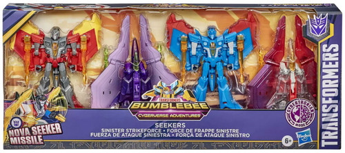 Transformers Cyberverse Adventures Sinister Strikeforce Seekers Action Figure 4-Pack [Thrust, Skywarp, Thundercracker & Starscream]