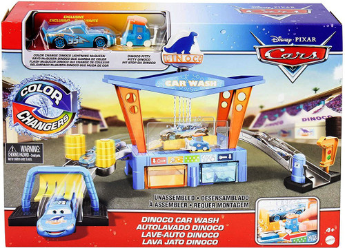 Disney / Pixar Cars Color Changers Dinoco Car Wash Playset [Includes Dinoco Lightning McQueen & Dinoco Pitty!]
