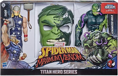 Marvel Spider-Man Maximum Venom Titan Hero Series Blast Gear Thor & Venomized Hulk Action Figure 2-Pack [Includes Mask]