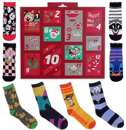 Disney 12 Days of Socks 2020 Holiday Advent Sock Calendar for Women Exclusive [Ladies' Shoe Size: 4-10]