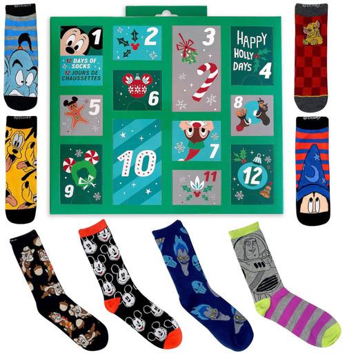 Disney 12 Days of Socks 2020 Holiday Advent Sock Calendar for Men Exclusive [Men's Shoe Size: 6-12]
