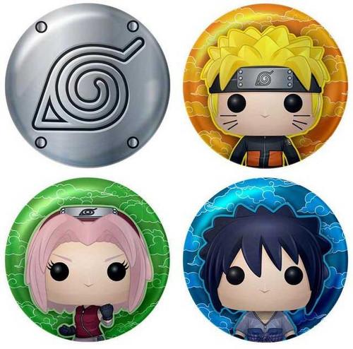 Funko Sakura, Sasuke, Naruto, & Konohagakure Symbol Exclusive Button 4-Pack