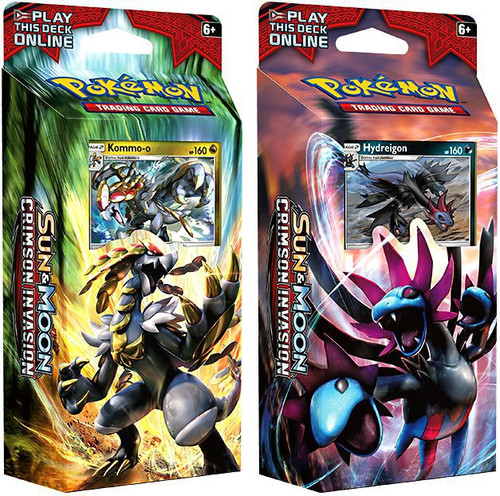 Pokemon Trading Card Game Sun & Moon Crimson Invasion Destruction Fang & Clanging Thunder Set of Both Theme Decks [Hydreigon & Kommo-o]