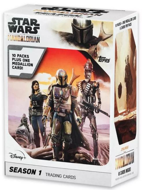 Star Wars The Mandalorian Season 1 Trading Card BLASTER Box [10 Packs + 1 Medallion Card!]