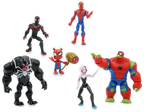 Disney Marvel Toybox Spider-Man, Spider-Ham, Ghost-Spider, Venom, Miles Morales & Spider Hulk Action Figure 6-Pack [with Bike]