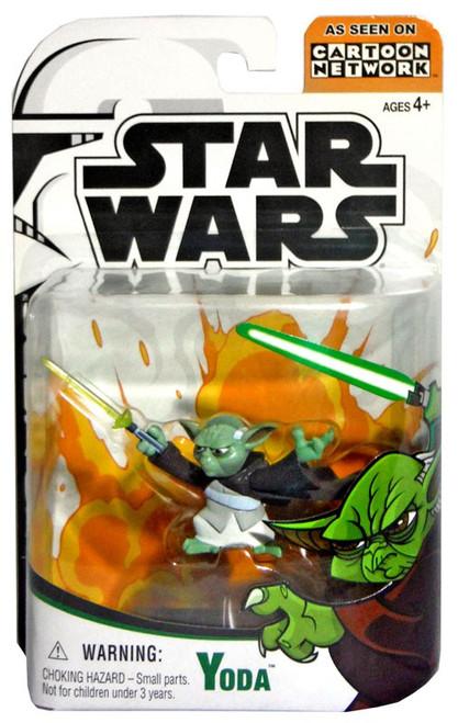Star Wars The Clone Wars Cartoon Network Yoda Action Figure [Damaged Package]