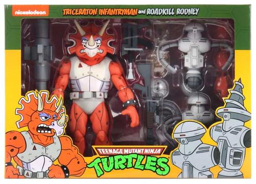 NECA Teenage Mutant Ninja Turtles Triceraton Infantryman & Roadkil Rodney Action Figure 2-Pack
