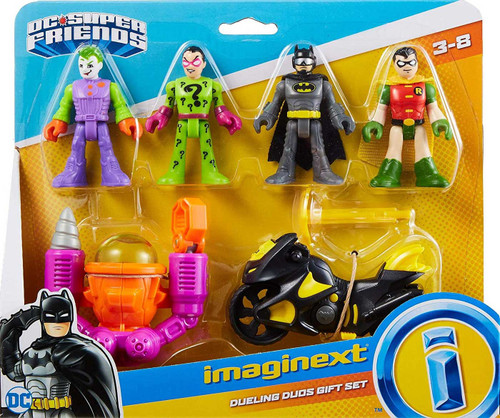 Fisher Price DC Super Friends Imaginext Dueling Duos Exclusive Gift Set [Joker, Riddler, Batman & Robin with Batcycle & Sub!]