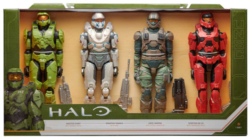 Halo Master Chief, Spartan Tanaka, UNSC Marine & Spartan Mk VII Action Figure 4-Pack