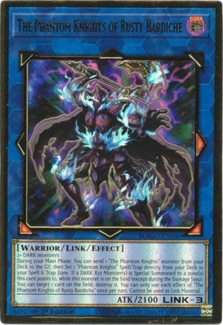 YuGiOh Maximum Gold Premium Gold Rare The Phantom Knights of Rusty Bardiche MAGO-EN040
