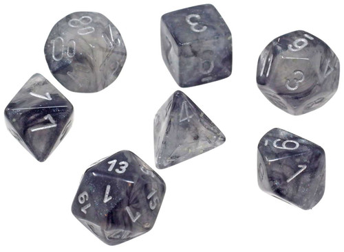 Chessex Borealis Light Smoke / Silver Luminary Polyhedral 7-Die Dice Set #27578