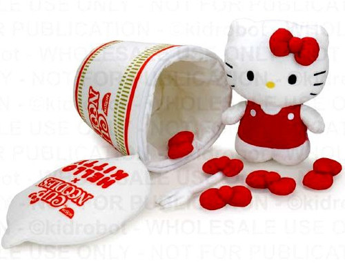 """""""Fork & Bow"""" Series Cup Noodles x Hello Kitty 12-Inch Interactive Plush [1 RANDOM Pin] (Pre-Order ships April)"""
