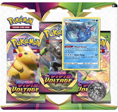 Pokemon Trading Card Game Sword & Shield Vivid Voltage Vaporeon Special Edition [3 Booster Packs & Promo Card]