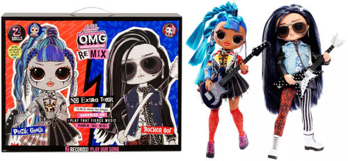 LOL Surprise OMG ReMix Punk Grrrl & Rocker Boi Fashion Doll 2-Pack
