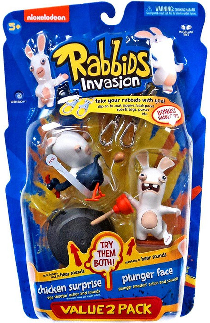 McFarlane Toys Raving Rabbids Rabbids Invasion Series 2 Chicken Surprise & Plunger Face Action Figure 2-Pack