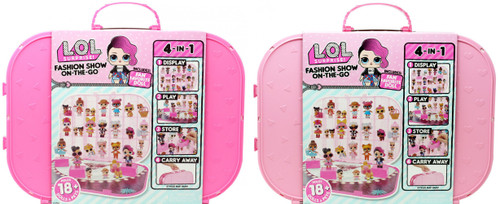 LOL Surprise Fashion Show On The Go HOT Pink & LIGHT Pink Set of BOTH Storage Carry Cases