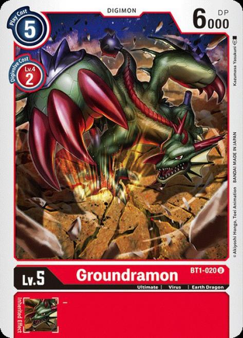 Digimon Trading Card Game 2020 V.1 Uncommon Groundramon BT1-020