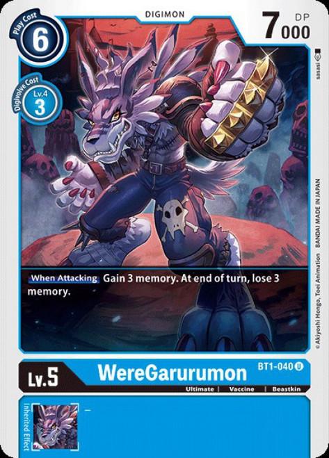 Digimon Trading Card Game 2020 V.1 Uncommon WereGarurumon BT1-040