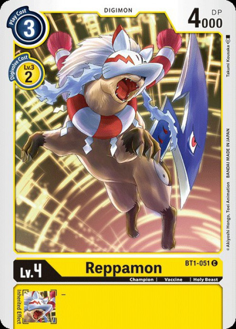 Digimon Card Game Digimon 2020 V.1 Common Reppamon BT1-051