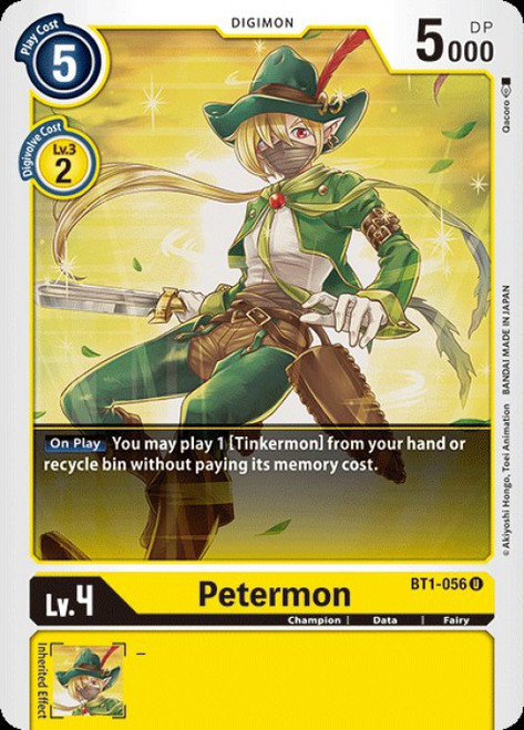 Digimon Trading Card Game 2020 V.1 Uncommon Petermon BT1-056