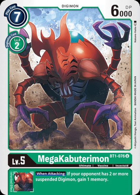 Digimon Trading Card Game 2020 V.1 Uncommon MegaKabuterimon BT1-076