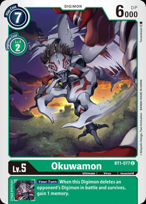 Digimon Trading Card Game 2020 V.1 Common Okuwamon BT1-077