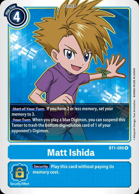 Digimon Trading Card Game 2020 V.1 Rare Matt Ishida BT1-086