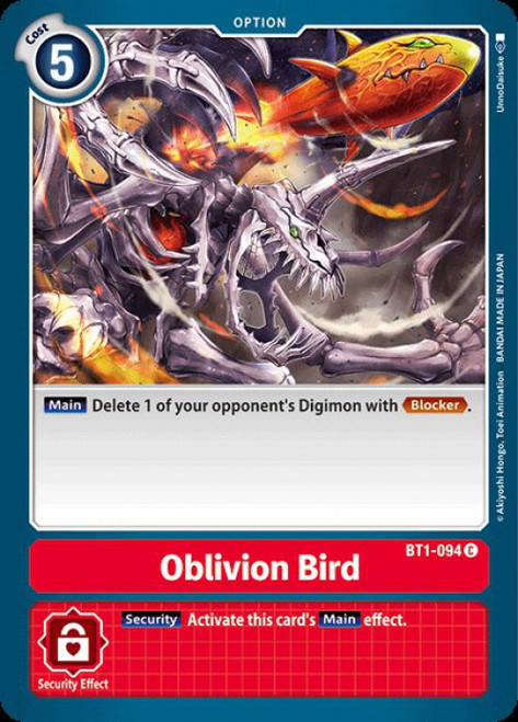 Digimon Card Game Digimon 2020 V.1 Common Oblivion Bird BT1-094