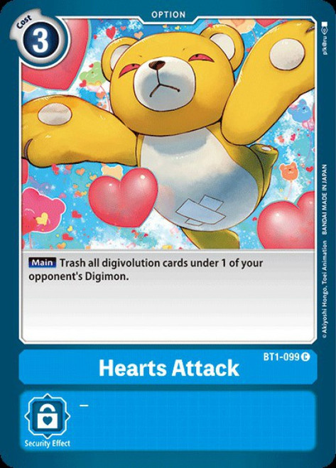 Digimon Trading Card Game 2020 V.1 Common Hearts Attack BT1-099