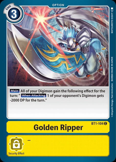 Digimon Trading Card Game 2020 V.1 Common Golden Ripper BT1-104