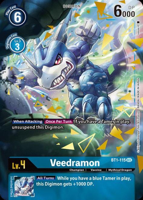 Digimon Trading Card Game 2020 V.1 Secret Rare Veedramon BT1-115 [Alternative Art]