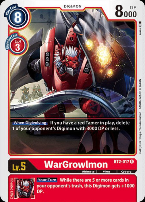 Digimon Trading Card Game 2020 V.1 Rare WarGrowlmon BT2-017
