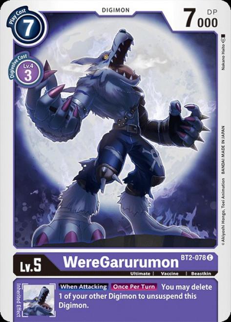 Digimon Trading Card Game 2020 V.1 Common WereGarurumon BT2-078