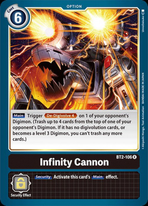 Digimon Trading Card Game 2020 V.1 Rare Infinity Cannon BT2-106