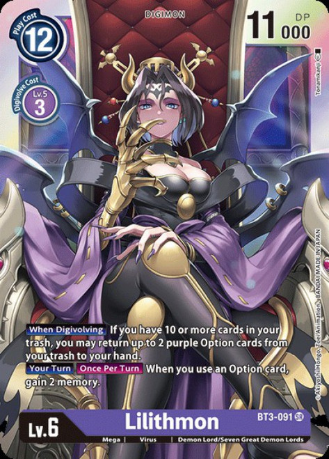 Digimon Trading Card Game 2020 V.1 Super Rare Lilithmon BT3-091