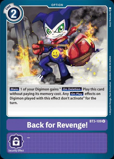 Digimon Trading Card Game 2020 V.1 Uncommon Back for Revenge! BT3-109