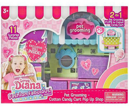 Love, Diana Fashion Fabulous! Series 1 Pet Grooming / Cotton Candy Cart Pop Up Shop 3.5-Inch 2-In-1 Playset