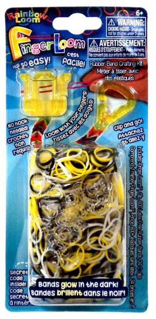Rainbow Loom Finger Loom Rubber Band Crafting Kit [Yellow, Loose]