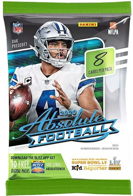 NFL Panini 2020 Absolute Football Trading Card RETAIL Pack [8 Cards!]