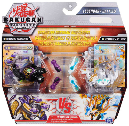 Bakugan Battle Planet Armored Alliance Legendary Battles Howlkor x Ramparian Vs Pegatrix X Gillator Exclusive Figure 2-Pack