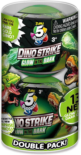 5 Surprise Dino Strike Series 2 LOT of 2 Mystery Packs [Glow-in-the-Dark]