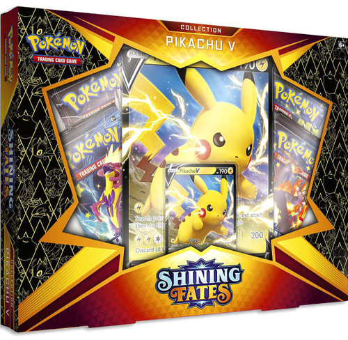 Pokemon Trading Card Game Shining Fates Pikachu V Collection Box [4 Booster Packs, Promo Card & Oversize Card!] (Pre-Order ships April)