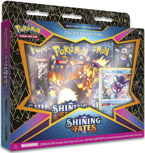 Pokemon Trading Card Game Shining Fates Galarian Mr. Rime Mad Party Pin Collection [3 Booster Packs, Promo Card & Pin]