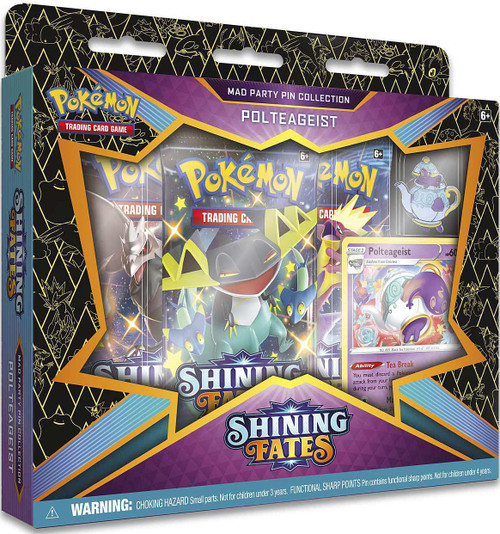 Pokemon Trading Card Game Shining Fates Polteageist Mad Party Pin Collection [3 Booster Packs, Promo Card & Pin]