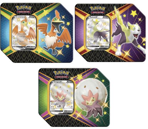 Pokemon Trading Card Game Shining Fates Cramorant V, Botund V & Eldegoss V Set of 3 Tins [18 Booster Packs & 3 Promo Cards Total]