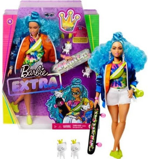Barbie Fashionista Extra #4 in Bomber Jacket with Skateboard & 2 Pet Kittens Doll