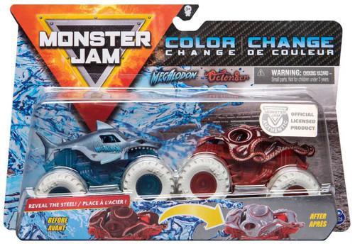 Monster Jam Color Change Megalodon & Octon8er Diecast Car 2-Pack