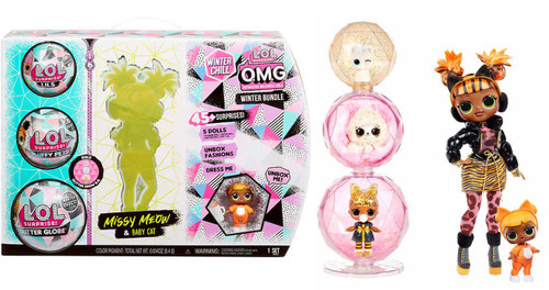 LOL Surprise Winter Chill OMG BUNDLE Missy Meow & Baby Cat Exclusive Fashion Doll [Includes Lil, Fluffy Pet & Glitter Globe!]